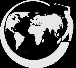 Logo von PROJECT GOLFR Golfspieler auf Weltkugel
