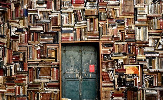 Tür in Bücherwand. Wissen ist Macht