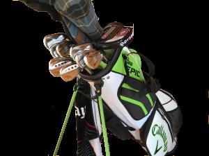 Golfschläger in Tasche, volles Equipment