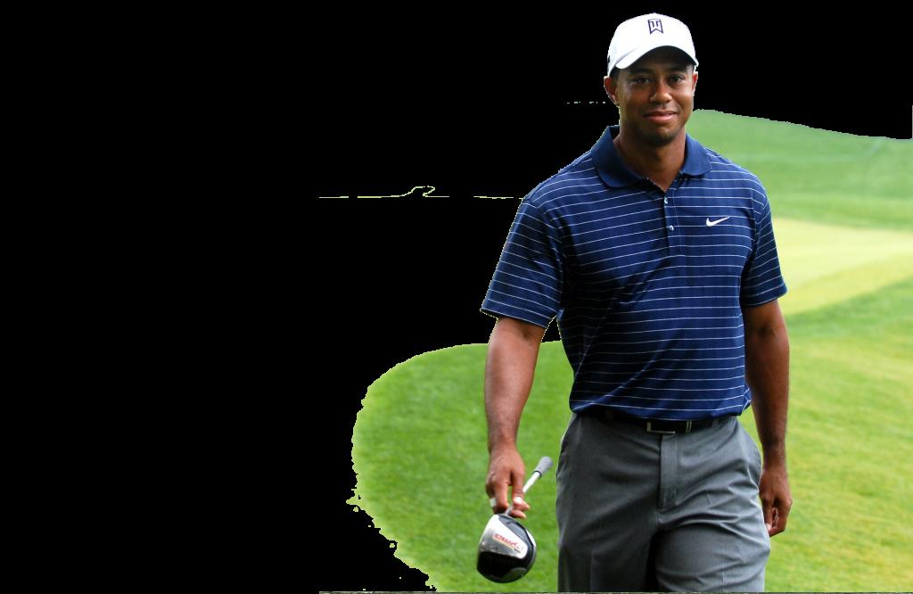 Lachender Golfer mit Golf Accessoires