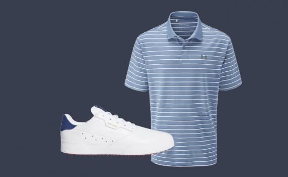Poloshirt und Golfschuhe